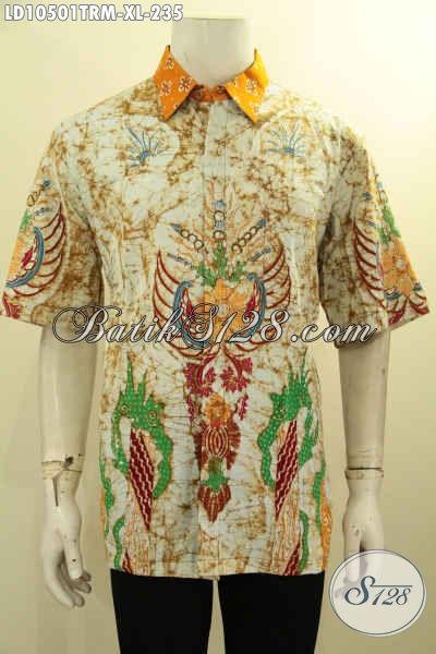 Jual Baju Batik Lengan Pendek Keren Size XL, Pakaian Batik Kwalitas Premium Tulis Remekan Non Furing Harga 235K