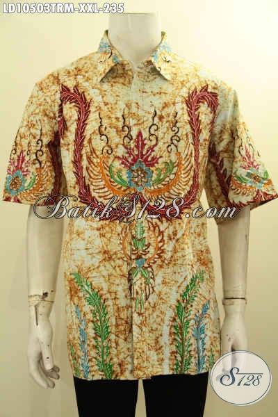 Kemeja Batik Lengan Pendek Pria Gemuk, Hem Batik Halus Motif Terbaru Tulis Remekan Big Size Harga 235K, Size XXL