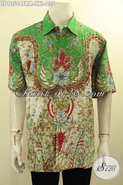 Jual Kemeja Batik Lengan Pendek Halus Big Size, Baju Batik Jumbo Untuk Kerja Proses Tulis Remekan, Size XXL