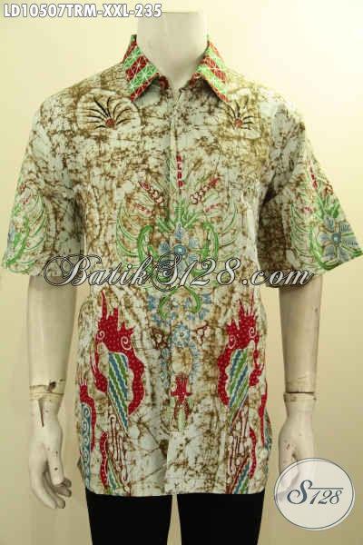Batik Hem Lengan Pendek Pria Terbaru, Busana Batik Solo Halus Non Furing Ukuran Jumbo Motif Trendy Tulis Remekan, Size XXL