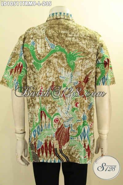 Model Baju Batik Lengan Pendek Cowok Untuk Tampil Modis, Kemeja Batik Solo Terbaru Motif Keren Proses Tulis Remekan, Pas Buat Gaul [LD10511TRM-L]