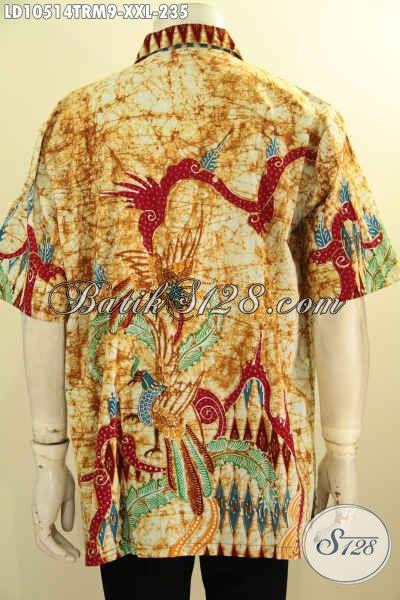 Kemeja Batik Lengan Pendek Istimewa, Busana Batik Halus Motif Kombinasi Proses Tulis Remekan Harga 235K, Size XXL Buat Pria Gemuk