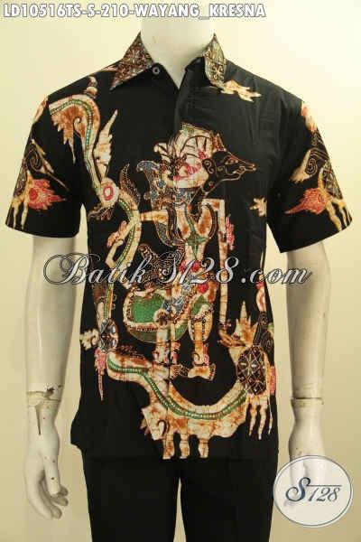 Jual Baju Kemeja Batik Pria Tulis Soga Lengan Pendek Motif Wayang Kresna, Size S