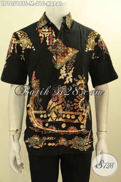 Model Baju Batik Cowok Size M Lengan Pendek Bahan Adem Non Furing Motif Kapal Tulis Soga, Penampilan Lebih Gaya Dan Mempesona