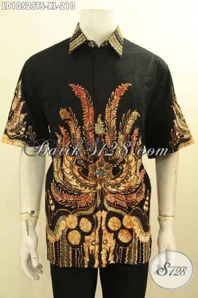 Jual Baju Batik Online Lengan Pendek Elegan Dan Berkelas, Hem Batik Tulis Soga Ukuran XL Motif Terbaru Harga 210K