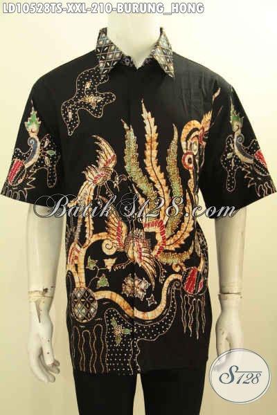 Baju Batik Motif Burung Hong, Kemeja Batik Halus Lengan Pendek Proses Tulis Soga Kwalitas Istimewa, Untuk Penampilan Lebih Mempesona, Size XXL