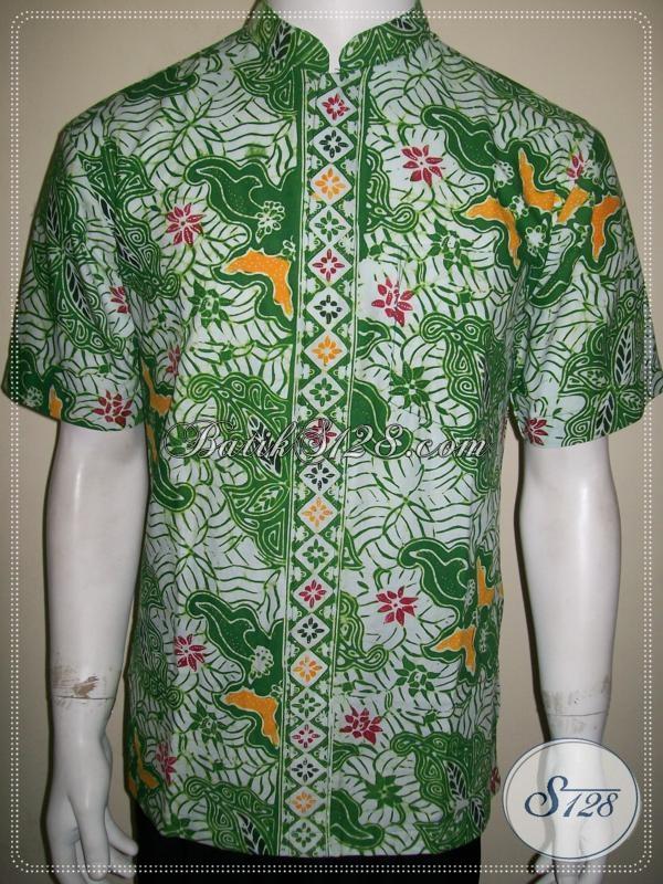 Baju Batik Koko Pria Modern Warna Hijau Elegan Ld1052cdk