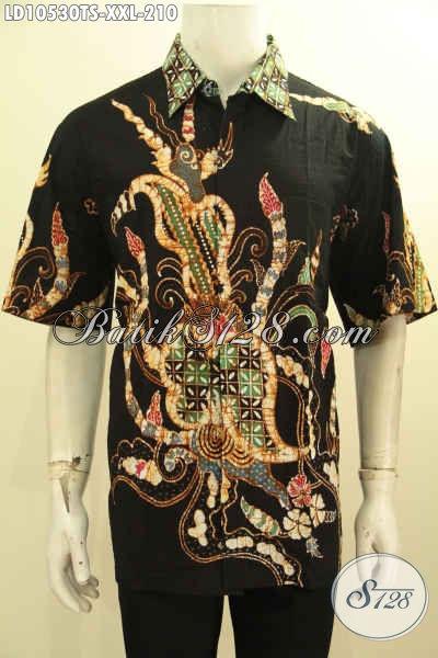 Hem Batik Kemeja Lengan Pendek Istimewa, Pakaian Batik Solo Jawa Tengah Untuk Pria Gemuk Bahan Adem Motif Bagus Proses Tulis Soga, Di Jual Online 210K [LD10530TS-XXL]