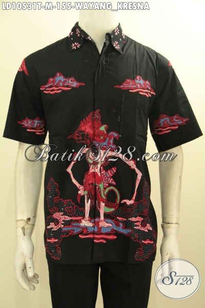 Hem Batik Tulis Murmer Motif Wayang Kresna, Baju Batik Pria Muda Bikin Penampilan Makin Bergaya, Size M