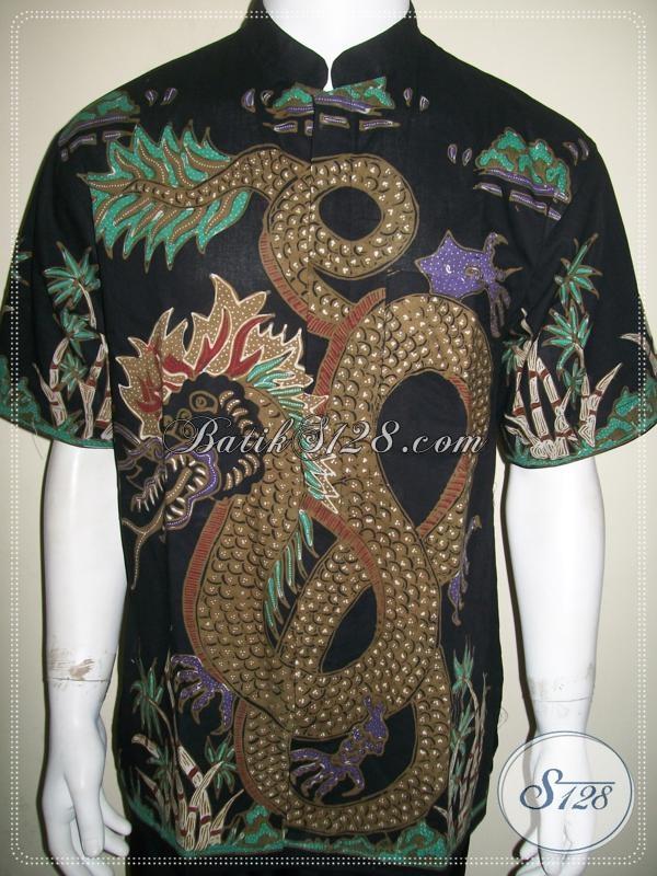 Batik naga pria kerah koko shanghai warna hitam keren ldtk