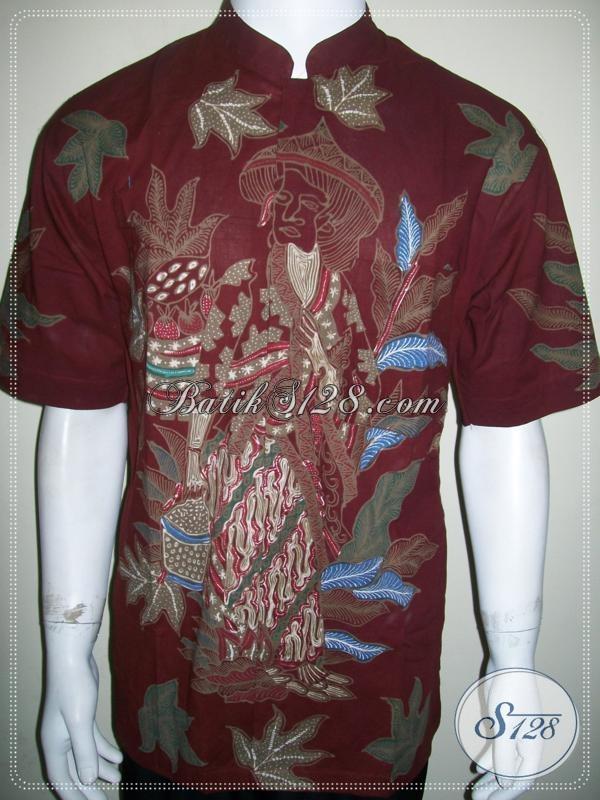 Batik Koko Modern Pria Kerah Shanghai, Motif Unik Mbok Jamu [LD1058TK-L]