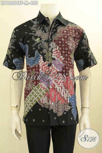 Pakaian Batik Pria Premium, Kemeja Lengan Pendek Tulis Bahan Halus Daleman Full Furing 400 Ribuan, Size M