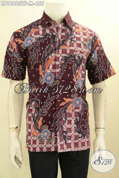 Model Baju Batik Lengan Pendek Pria 2019, Hem Batik Istimewa Pake Furing Motif Bagus Tulis Asli, Penampilan Lebih Berkelas [LD10605TF-M]
