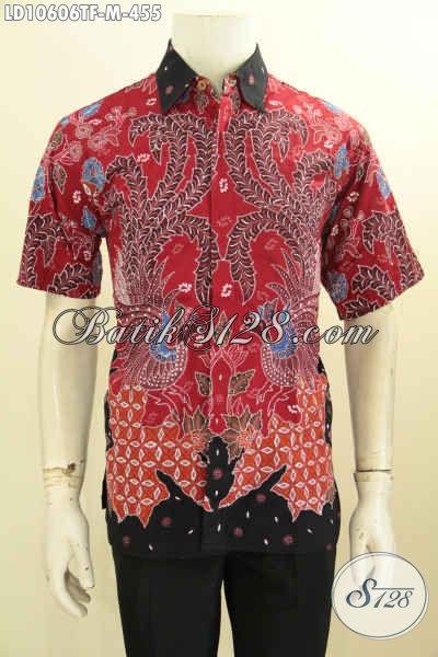 Jual Baju Batik Pria Muda Desain Jaman Now, Kemeja Batik Keren Warna Merah Lengan Pendek Motif Unik Proses Tulis Daleman Full Furing Harga 400 Ribuan [LD10606TF-M]