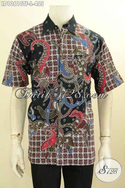 Produk Baju Batik Istimewa Untuk Pria Kantoran, Hem Batik Seragam Kerja Proses Tulis Full Furing Model Lengan Pendek, Size L