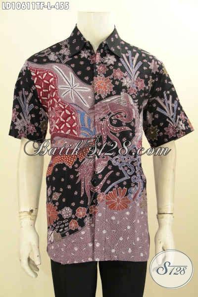 Model Baju Batik Lengan Pendek, Hem Batik Atasan Pria Proses Tulis Motif Bagus Dan Berkelas Bahan Adem Nyaman Di Pakai, Size L