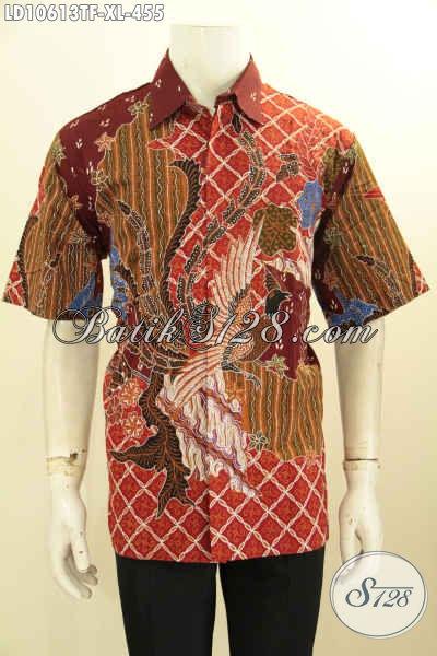 Batik Hem Lengan Pendek, Pakaian Batik Solo Size XL Full Furing Motif Bagus Tulis Asli, Pilihan Tepat Untuk Tampil Berkelas