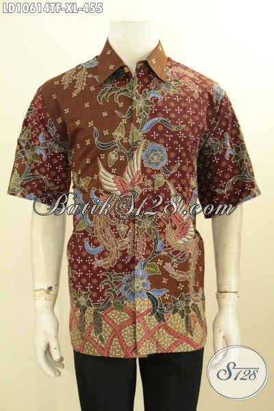 Baju Batik Tulis Elegan Keren Motif Terbaru, Hem Batik Solo Lengan Pendek Seragam Kerja Premium Daleman Full Furing 400 Ribuan, Size XL
