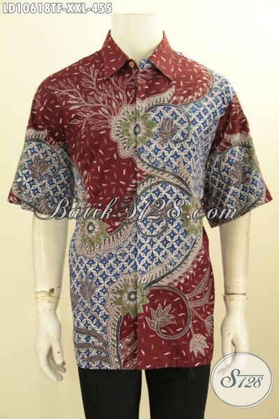 Toko Produk Batik Solo Online, Sedia Kemeja Lengan Pendek XXL Bahan Adem Proses Tulis Daleman Full Furing Hanya 455K