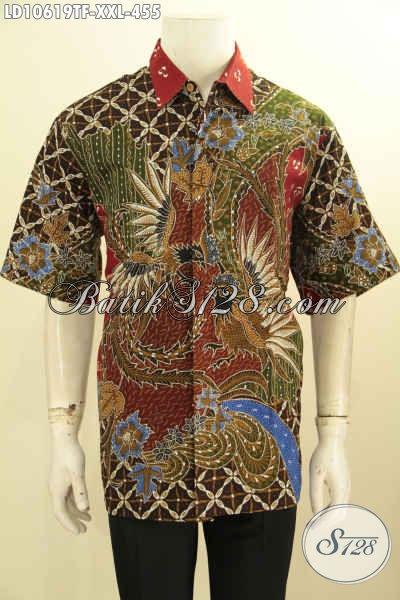Baju Kemeja Batik Solo Premium Lengan Pendek Jumbo, Hem Batik Lelaki Gemuk Full Furing Motif Elegan, Tampil Berkelas, Size XXL