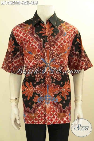 Batik Kemeja Elegan Lengan Pendek Solo Premium, Busana Batik Full Furing Motif Mewah Halus, Pria Gemuk Terlihat Mempesona, Size XXL