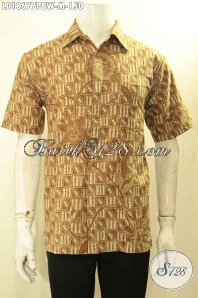 Model Baju Batik Solo Lengan Pendek, Kemeja Batik Halus Motif Kekinian Bahan Adem Tren Motif 2018 Harga 150K, Size M