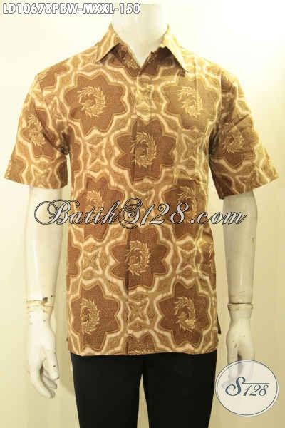 Baju Batik Solo Halus Lengan Pendek, Kemeja Batik Elegan Ukuran M Dan XXL Bahan Adem Proses Printing Cabut, Penampilan Lebih Istimewa
