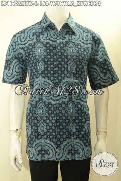 Koleksi Busana Batik Solo Motif Klasik Truntum Kuncoro, Kemeja Batik Elegan Warna Bagus Model Lengan Pendek Proses Printing, Keren Buat Ngantor, Size L