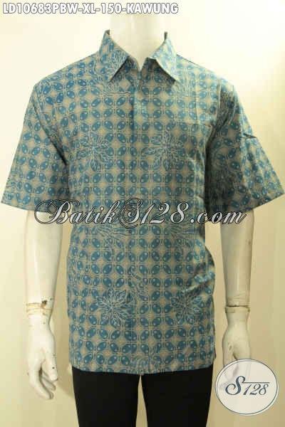 Hem Batik Size XL Motif Kawung, Kemeja Batik Printing Warna Hijau Kwalitas Bagus Proses Printing Cabut, Pas Untuk Kerja Kantoran Harga Terjangkau
