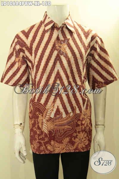 Batik Hem Pria Model Terbaru, Baju Batik Lengan Pendek Istimewa Motif Bagus, Pas Buat Kerja Kantoran Maupun Acara Resmi [LD10684PBW-XL]