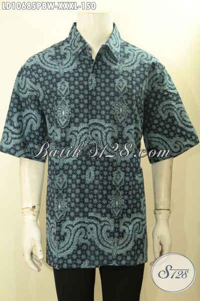 Batik Kemeja Pria Gemuk, Hem Batik Elegan Bahan Adem Proses Printing Cabut Ukuran L4, Modis Untuk Santai Dan Resmi [LD10685PBW-XXXL]