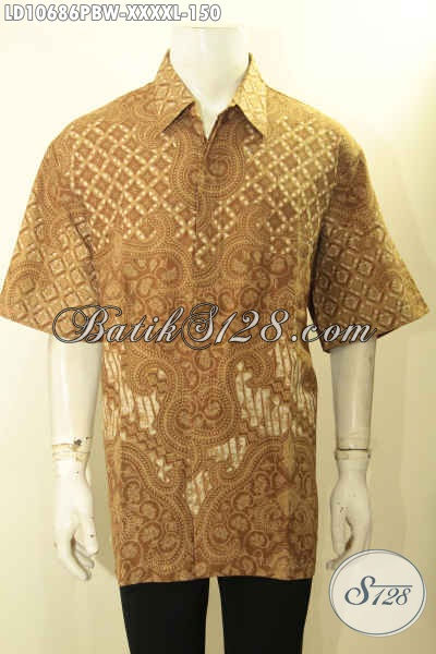 Baju Batik Pria Gemuk Sekali, Busana Batik Solo Halus L5 Model Lengan Pendek Kekinian Berpadu Motif Keren Proses Printing Harga 150K, Size XXXXL