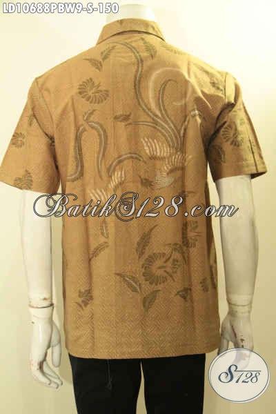 Batik Kemeja Pria Lengan Pendek Elegan Warna Kalem, Hem Batik Printing Halus Motif Trendy, Pas Buat Seragam Kerja, Size S