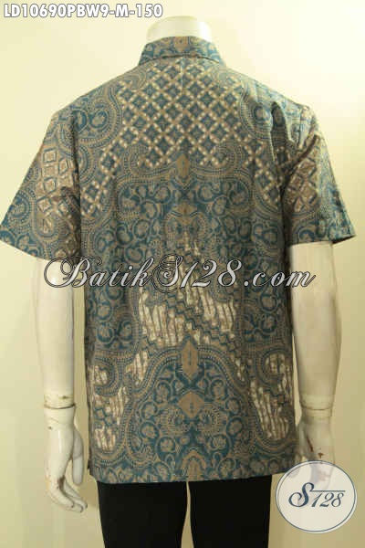 Baju Hem Batik Solo Istimewa Untuk Kerja Dan Acara Resmi, Busana Batik Halus Printing Cabut Motif Bagus Hanya 150K, Size M