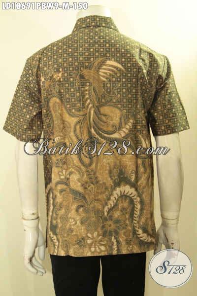 Model Baju Batik Pria Terkini, Hem Batik Solo Halus Lengan Pendek Bahan Adem Motif Kekinian, Menunjang Penampilan Makin Gagah Sempurna, Size M