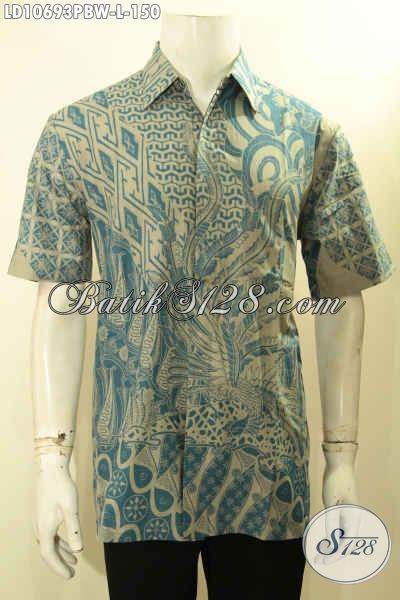 Hem Batik Solo Halus Motif Tren Masa Kini, Kemeja Batik Jawa Tengah Berkelas Proses Printing Cabut, Di Jual Online 150 Ribu Saja [LD10693PBW-L]