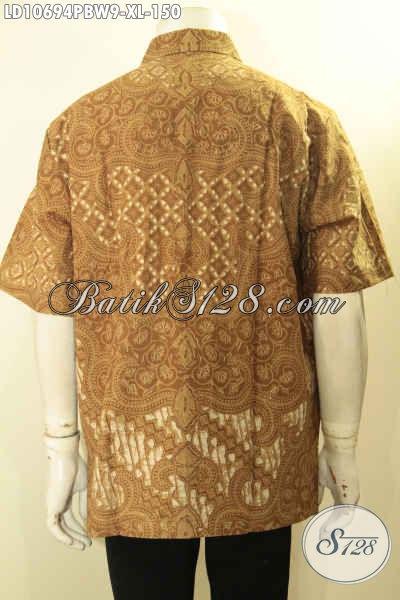 Batik Hem Solo Lengan Pendek Size XL, Pakaian Batik Pria Dewasa Bahan Halus Proses Printing Cabut Yang Membuat Penampilan Lebih Berkelas Harga 150K