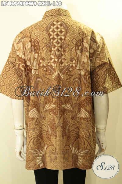 Pusat Baju Batik Solo Elegan Mewah Halus, Baju Batik Pria Gemuk Size XXXL Lengan Pendek, Motif Bagus Untuk Penampilan Lebih Sempurna