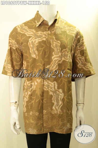 Busana Batik Keren Lengan Pendek Pria Gemuk Sekali, Baju Batik Big Size L5 Bahan Adem Motif Terbaru, Penampilan Lebih Ganteng Maksimal [LD10697PBW-XXXXL]
