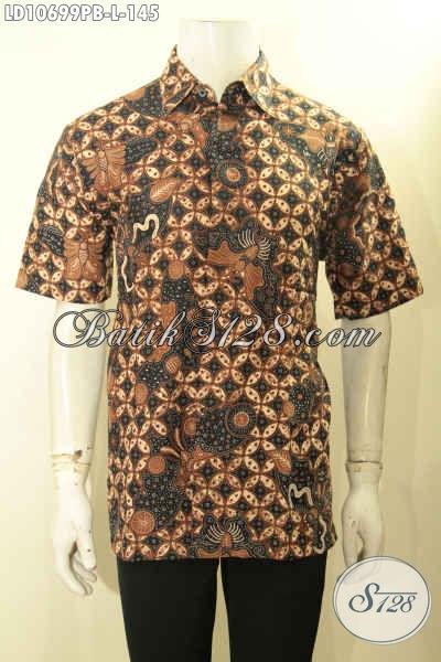 Jual Baju Batik Pria Motif Klasik Lengan Pendek, Kemeja Batik Solo Terbaru Proses Printing Cabut, Elegan Untuk Acara Resmi [LD10699PB-L]