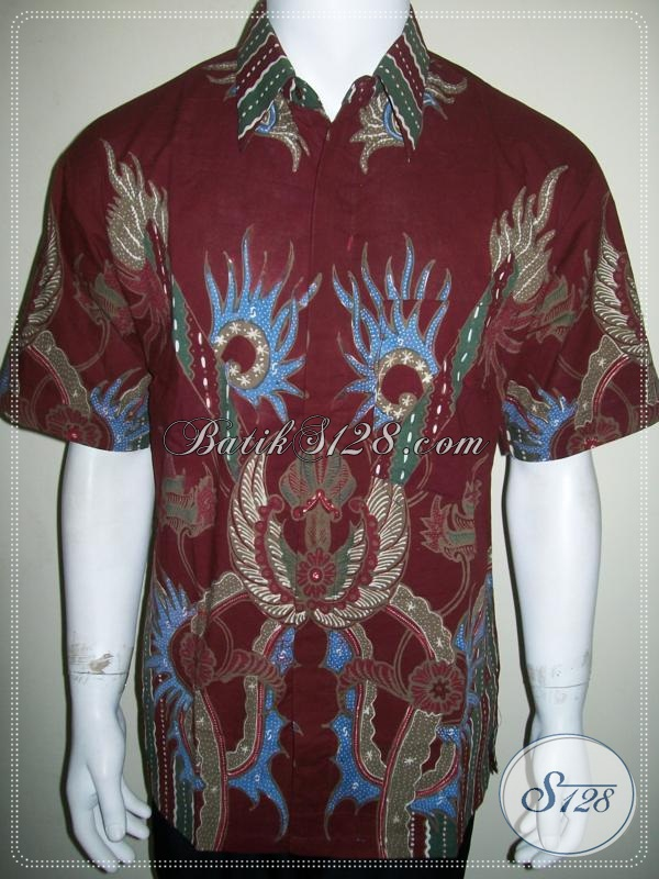 Batik Cowok Modern Keren Warna Merah Ukuran L [LD1069T-L]