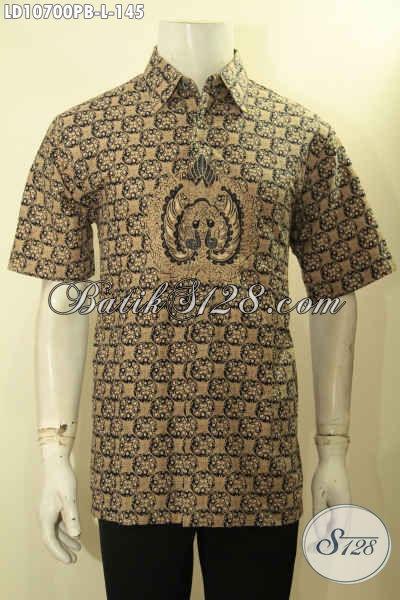 Baju Batik Hem Solo Lengan Pendek Motif Klasik Nan Elegan, Pakaian Batik Pria Muda Dan Dewasa Pas Buat Acara Resmi, Size L