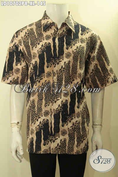 Jual Baju Batik Kerja Desain Formal, Hem Batik Resmi Motif Bagus Dengan Sentuhan Klasik Proses Printing Model Lengan Pendek Hanya 145K [LD10702PB-XL]