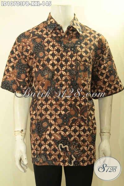 Pusat Baju Batik Solo Online, Jual Kemeja Batik Lengan Pendek Halus Bahan Adem Yang Membuat Penampilan Gagah Dan Keren, Size XXL