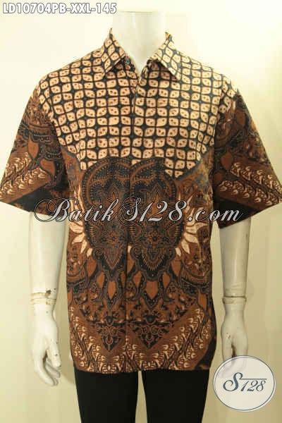 Kemeja Batik Solo Lengan Pendek Size XXL, Hem Batik Modis Halus Bahan Adem Motif Klasik Proses Printing, Pas Untuk Acara Resmi