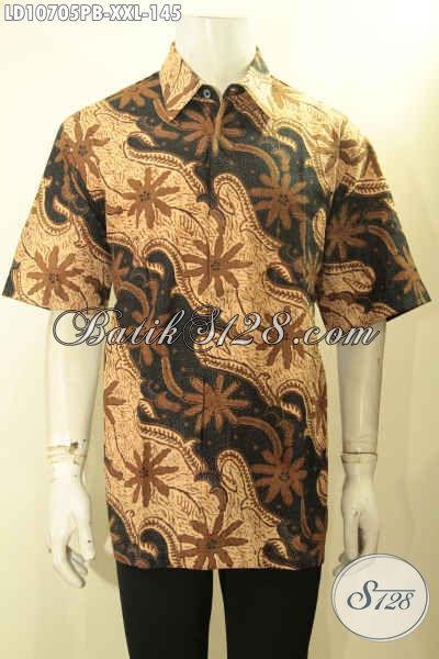 Baju Batik Modern Untuk Pria Gemuk, Hem Batik ELegan Lengan Pendek Size XXL Motif Klasik Printing Cabut Harga 145K [LD10705PB-XXL]