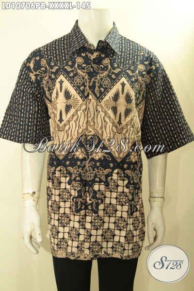 Hem Batik Pria Gemuk L5, Kemeja Batik Halus Motif Klasik Lengan Pendek Proses Printing Cabut, Menunjang Penampilan Lebih Sempurna, Size XXXL