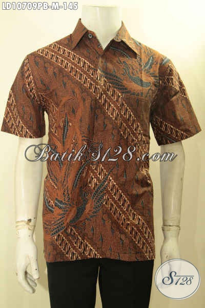 Batik Kemeja Kerja Lengan Pendek Motif Klasik, Pakaian Batik Berkelas Bahan Adem Proses Printing Cabut, Tampil Lebih Istimewa, Size M