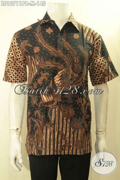 Baju Hem Batik Pria Halus, Busana Batik Seragam Kerja Nan Elegan Motif Klasik Lengan Pendek Bahan Adem Proses Printing Cabut, Penampilan Makin Tampan [LD10711PB-M]