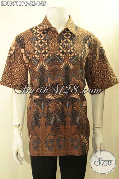 Model Baju Batik Kerja Pria Lengan Pendek Nan Istimewa, Hem Batik Solo Halus Non Furing Proses Printing Cabut, Penampilan Lebih Berkelas, Size XL